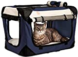 PetLuv 'Happy Cat Premium 3-in-1 Soft Sided Detachable Pet Carrier, Travel Crate, and Pet Stroller - Locking Zippers, Comfy Plush Nap Pillow, Airy Windows, Sunroof, Reduces Anxiety