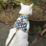 Yizhi Miaow Escape Proof Kitten Harness with Leash X-Small, Adjustable Kitten Walking Jackets, Padded Kitten Vest Polka Dot Blue