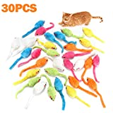 MeoHui 30PCS Catnip Toys for Cats, 5.5 Inches Faux Furry Catnip Mouse Toy with Rattle Noise, Rattling Fluffy Cat Toys Mice for Cat Kitten Exercise Interactive Play Fetch, 6 Colors Mixed Value Pack