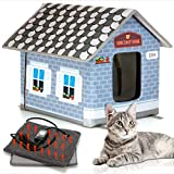 PETYELLA Heated cat Houses for Outdoor Cats in Winter - Heated Outdoor cat House Weatherproof - Outdoor Heated cat House - Easy to Assemble