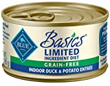 Blue Buffalo Basics Limited Ingredient Diet, Grain Free Natural Adult Pate Wet Cat Food, Indoor Duck 3-oz cans (pack of 24)
