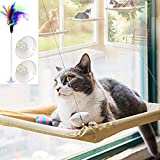 ZALALOVA Window Cat Seat, Cat Window Perch Hammock Space Saving Design w/1Pc Funny Cat Toy 2Pcs Extra Suction Cup Window Seat Cat Shelves All Around 360¡ã Sunbath Holds Up to 50lbs for Any Cat Size