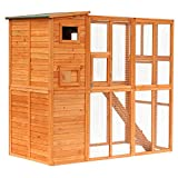 PawHut Large Wooden Outdoor Cat House with Large Run for Play, Catio for Lounging, and a Condo Area for Sleeping/Living, (Natural Wood)