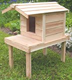 Outdoor Cat House with Lounging Deck and Extended Roof, Thermal-ply Insulation, Waterproof Shelter with Raised Platform and Cedar Construction