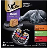 SHEBA PERFECT PORTIONS Wet Cat Food Paté in Natural Juices Savory Chicken, Roasted Turkey, & Tender Beef Entrées Variety Pack, (24) 2.6 oz. Twin-Pack Trays