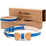 Pettsie Breakaway Cat Collar Bowtie and Friendship Bracelet, Gift Box Included, Durable 100% Cotton, D-Ring for Accessories, Light Weight, Comfortable, Soft, Adjustable Size 8-11 Inch, Blue