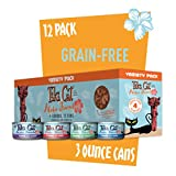 Tiki Cat Aloha Friends Grain-Free, Low-Carbohydrate Wet Food with Flaked Tuna for Adult Cats & Kittens, 3oz, 12 cans, Variety
