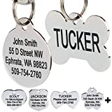GoTags Stainless Steel Pet ID Tags, Personalized Dog Tags and Cat Tags, up to 8 Lines of Custom Text Engraved on Both Sides, in Bone, Round, Heart, Bow Tie, Flower, Star and More (Bone, Small)