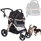 HPZ Pet Rover Prime 3-in-1 Luxury Dog/Cat/Pet Stroller (Travel Carrier +Car Seat +Stroller) w/Detach Carrier/Pump-Free Rubber Tires/Aluminum Frame/Reversible Handle for Medium & Small Pets (Sky Blue)
