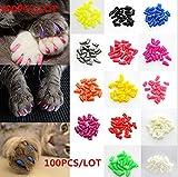 Brostown 100Pcs Soft Pet Cat Nail Caps Claws Control Paws of 5 Kinds 5Pcs Adhesive Glue + 5pcs Applicator with Instructions (L)