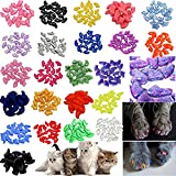 JOYJULY 140pcs Pet Cat Kitty Soft Claws Caps Control Soft Paws of 4 Glitter Colors, 10 Colorful Cat Nail Caps Covers + 7 Adhesive Glue+7 Applicator with Instruction, Medium M